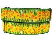 Martingale, dog collar, DAFFODILS yellow and green, floral, Safety Collar, Greyhound Collar, Sighthound Collar, Adjustable