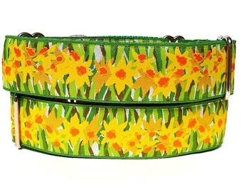 "1.5"" Martingale dog collar, DAFFODILS yellow and green floral, Safety Collar, Greyhound Collar, Sighthound Collar, Adjustable"