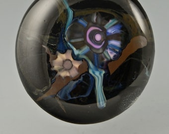 Evolution ... glass CABOCHON artsy organic lampwork jewelry designer cabs  by GrowingEdgeGlass/ Mikelene Reusse