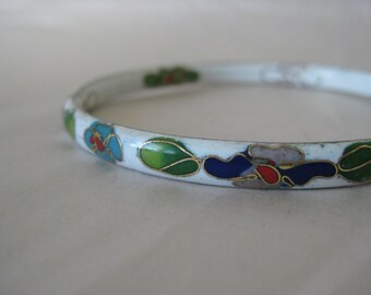 Flower White Bangle Green Red Gold Purple Turquoise Bracelet Cloisonné Enamel Vintage