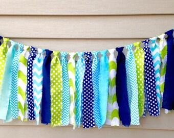 Aqua Navy Lime Rag Tie Banner Photo Prop 1st Birthday Cake Smash Little Man rag tie garland