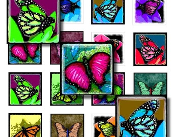 Digital Collage Sheet 44 Download 1x1 inch Butterfly Butterflies painting Jewelry Pendant Magnet making from art by Lucie Dumas