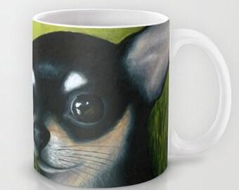 Coffee Mug Cup Art Dog 79 Black Chihuahua Ladybug flower nature 11oz or 15oz art painting by L.Dumas