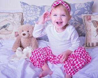 Girls Harem pants - flannel pajamas - Harem pants kids - houndstooth pants - Toddler pants - baby pants - lounge pants - baby pajamas - kids