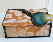 Jewelry Box, Stained Glass, Apricot Art Glass, with, turquoise,natural, geode slice