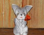 Vintage Glazed Bisque Begging Scotty Scottie Dog with Red Bow Figurine marked Japan