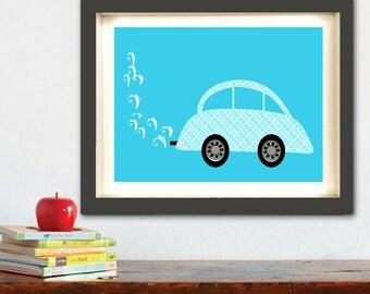Car print for nursery -  Kids Art Prints, car design, nursery decorating ideas, cars, transport, nursery decor, baby boy nursery