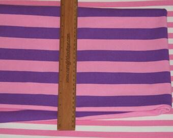 "Purple faity stripes 1 yard 1"" wide knit cotton lycra"