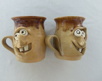 Vintage  Pair of 1970's Face Mugs