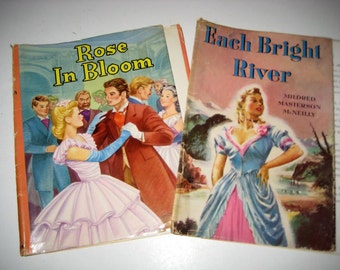 2 Vintage Book Dust Jackets Covers - Each Bright River and Rose in Bloom