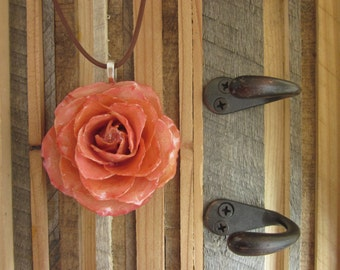 Large Pink Rose on brown cord - Real Flower Jewelry - sweet, wedding, bridesmaids, bridal, romantic, wife, love, sweetheart, movie, prop