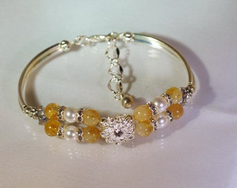 Gemstone and Swarovski Pearl Bracelet - Silver or Gold - Choice of Gemstones