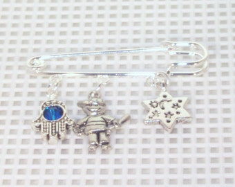 Baby Boy or Girl Pin - Diaper Bag, Carriage or Stroller Pin - Announcement Gift - Silver or Gold - Choice of Birthstone - Choice of Charms