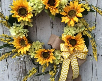 Sunflower Wreath, Wreath for Door, Yellow Sunflower Door Wreath, Sunflower Home Decor, Wreath