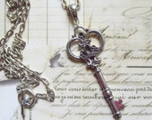 Large Skeleton Key Necklace in NEW ANTIQUE SILVER Finish, Ornate Vintage Style with Extra Long Chain