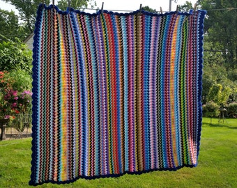 Vibrant Rainbow Striped Crocheted Afghan Throw, Outlined in Royal Blue