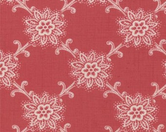 French General Cotton Fabric 1/2 Yard Le Bouquet Francais in Faded Red
