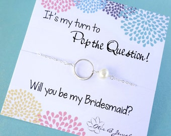 Bridesmaid gifts, Be my bridesmaid, Pearl necklace for bridesmaids, bridal jewelry, sterling silver circle necklace with bridesmaid card