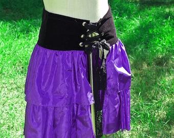 Wrap Bustle Ruffle Skirt Purple Handmade