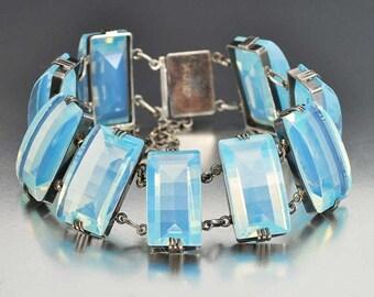 Art Deco Bracelet, Rock Crystal Moonstone Sterling Silver Bracelet, Opalescent Glass Quartz Crystal, Vintage Moonstone Bracelet Japanese