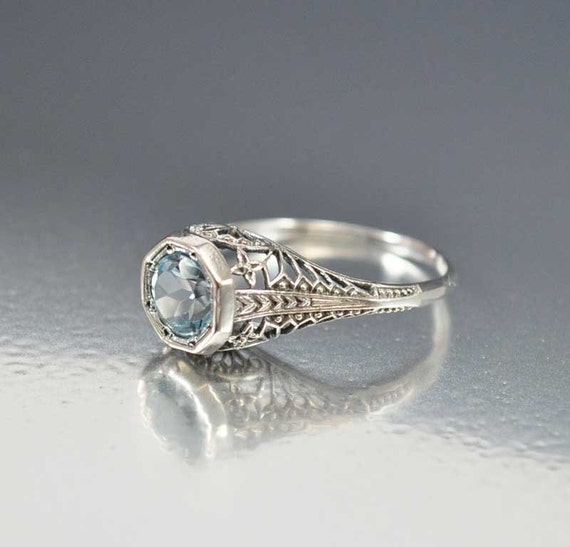 aquamarine ring solitaire unique engagement ring sterling