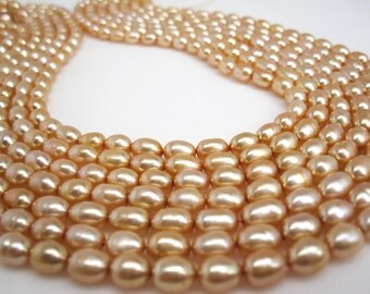 Apricot Color Pearls, Peach Pearls, Peach Color Freshwater Pearls, Rice Shape, SKU 4718