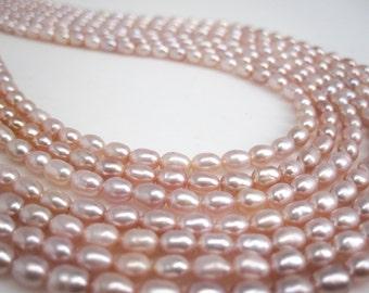 Pink Pearls, Pink Freshwater Pearls, Rice Shape, SKU 4726