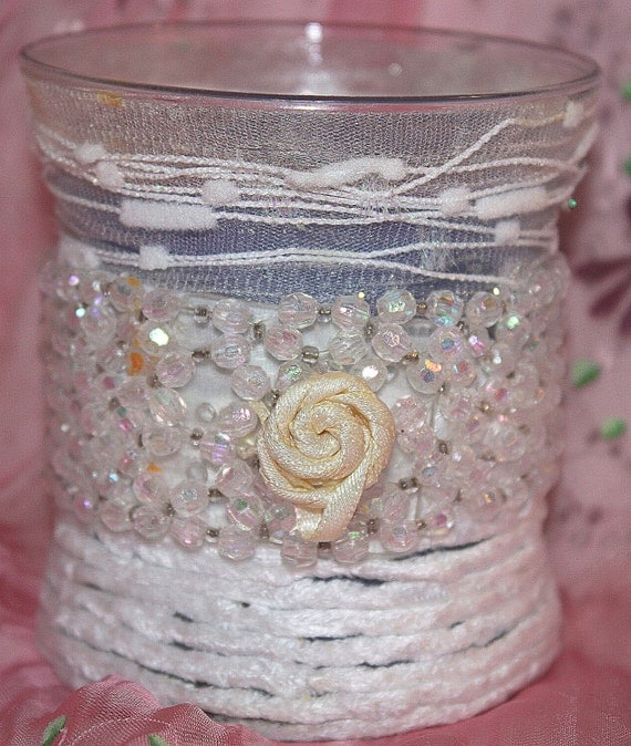 Soy Wax Hourglass Candle,  Embellished, YOUR SCENT CHOICE, White Chenille & Beaded Trims, HourGlass Girls Collection, Homemade, Hand Poured