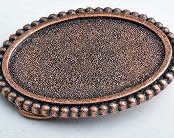 Belt buckle base for embellishment , antique copper, each BU122