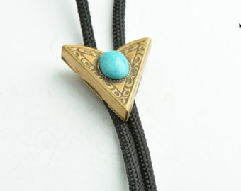Western Bolo Tie,  Turquoise stone setting each
