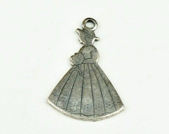 Dutch maiden charm, stamped brass plated charm, 6 ea 15150