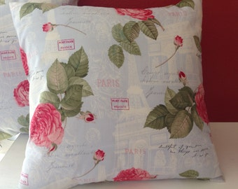 Shabby Chic Throw Pillow Roses in Paris Decorative Pillow