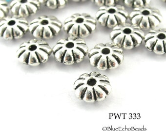 6mm Pewter Mini Flower Spacer Beads Antique Silver (PWT 333) 35 pcs BlueEchoBeads