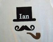 Boutique Custom Monogram Personalized Top Hat short Sleeved Onesie