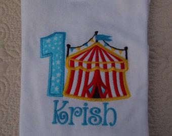 Birthday Circus  personalized short Sleeved Onesie or Tshirt