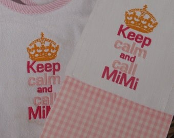 Keep Calm and Call Mimi Baby Bib and Burp Cloth