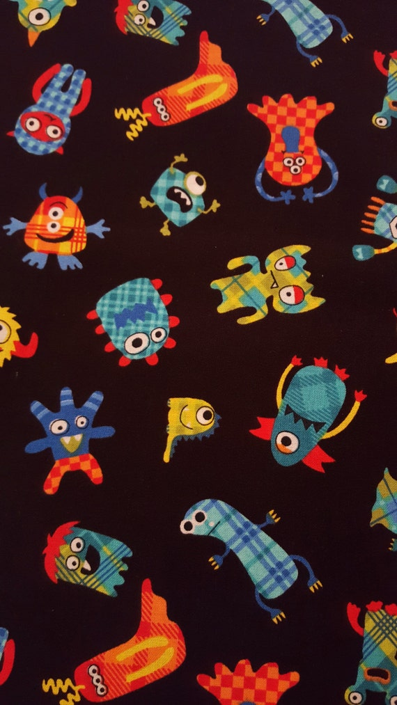 Cotton fabric monster plaid black patterned monsters for Childrens patterned fabric