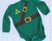 Great Halloween Costume READY TO SHIP Great Costume / Baby Shower Gift Inspired by Legend of Zelda, Link sewn cotton applique long sleeve bo