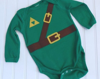 READY TO SHIP Great Costume / Baby Shower Gift Inspired by Legend of Zelda, Link sewn cotton applique long sleeve bodysuit