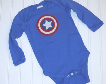READY TO SHIP Great Costume/Baby Avengers Captain America 100% cotton sewn long sleeve bodysuit with applique for boys or girls