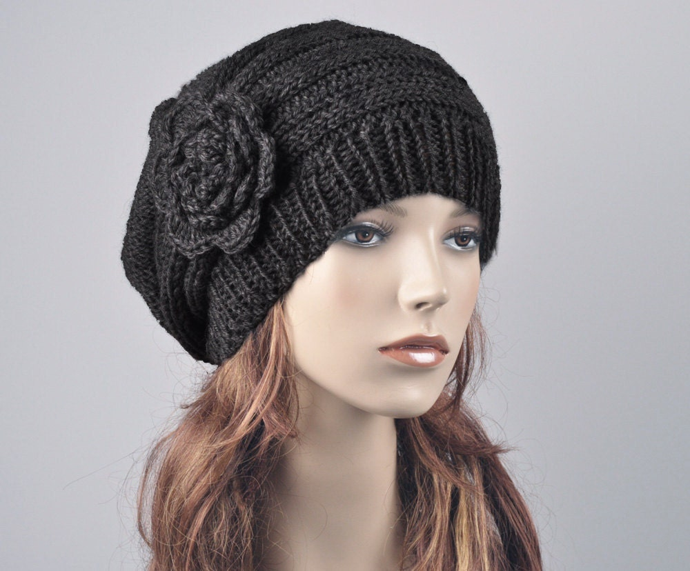 Hand Knit Hat Oversized Beret Hat with crochet flower black