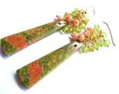 Green Unakite Jasper Earrings, Peridot Coral Cluster Earrings, Gold Filled Luxe Earrings, Gift For Her, Ready To Ship