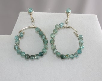 Apatite bead earrings. Hand made and wired on sterling silver.