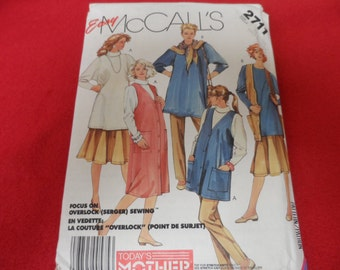 McCalls 2711 Maternity Wardrobe Pattern Jumper, Vest, Blouse, Top Uncut Sizes XL