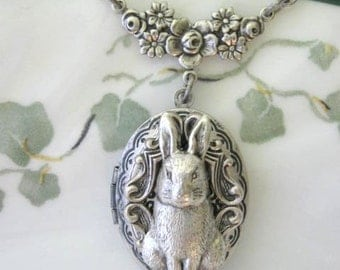 Bunny, Locket, Silver Locket Necklace, Bunny Locket, Rabbit Necklace, Bunny Necklace, Peter Rabbit, White Rabbit, Garden Bunny