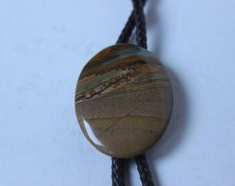 Vintage Bennett Bolo Tie Medallion Stone Vintage Bennett Pat Pend C-31 Stone Oval Bolo Tie Vintage Cowboy Tie Hoedown Brown