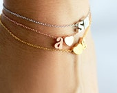 Double Initial Bracelet Lowercase - Gold Silver Rose Gold Dainty Initial Bracelet Chain Custom Personalized Bridesmaid Gift Wedding