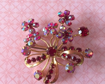 Vintage Signed Austria Red Surora Borealis rhinestone Brooch Pin Flower clusters cottage or shabby chic