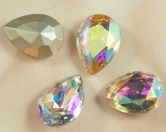 Beautiful Crystal AB Glass Jewels or Stones, 18x13 MM Pear Shape