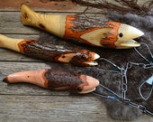 Wooden Fish on a Stringer, Set of 3, Hand made finished Fish, Fisherman's Perfect Gift, Outdoor, Rustic Cabin Decorations 912